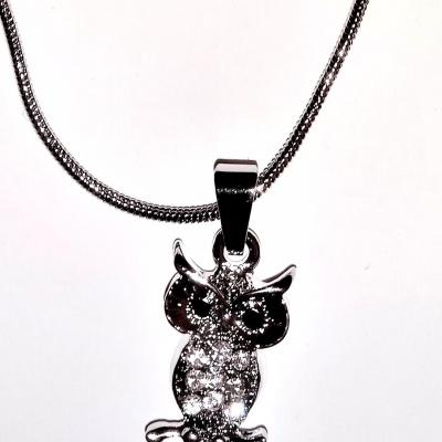 COLLIER STRASS HIBOU/CHOUETTE